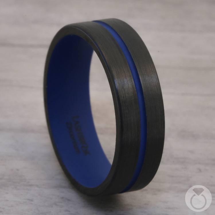 The Thin Blue Line - Zirconium & Blue Cerakote Mens Band | 04