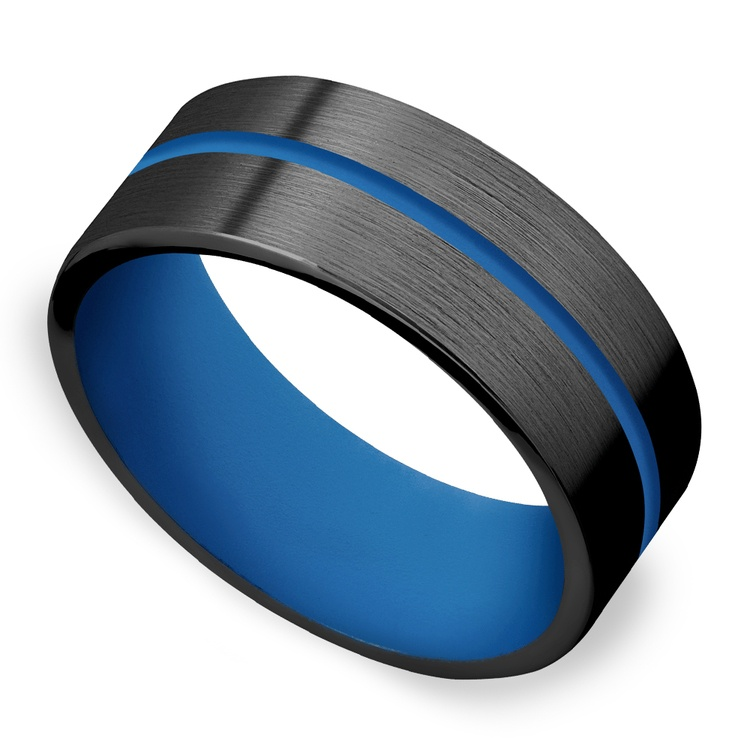 The Thin Blue Line - Zirconium & Blue Cerakote Mens Band | 01