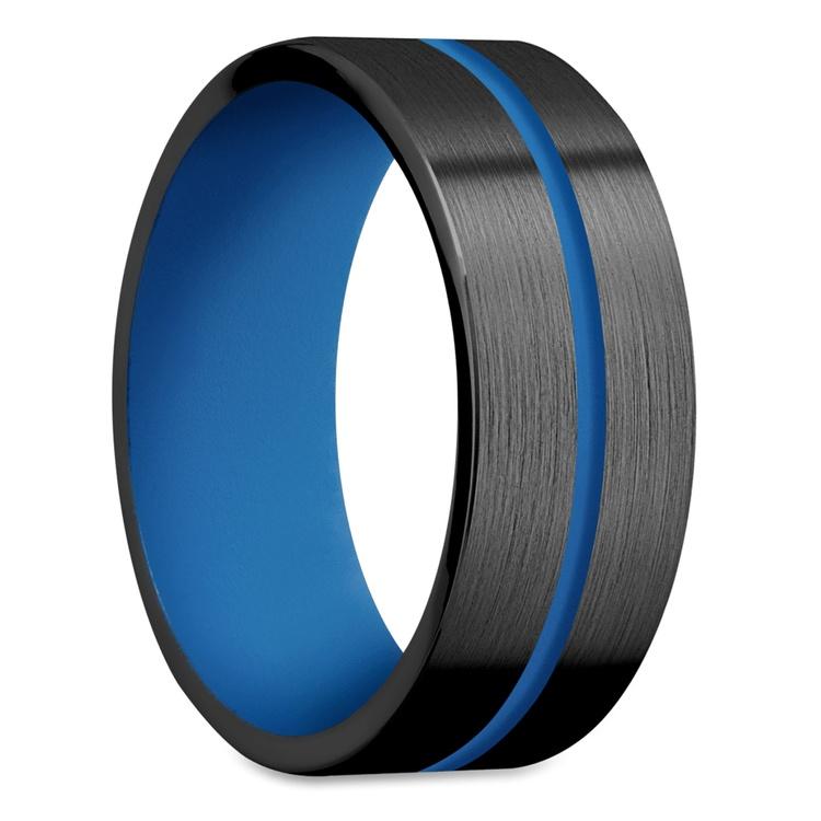 The Thin Blue Line - Zirconium & Blue Cerakote Mens Band | 02