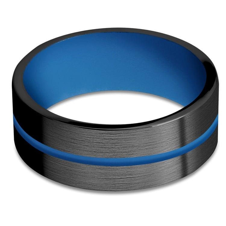 The Thin Blue Line - Zirconium & Blue Cerakote Mens Band | 03