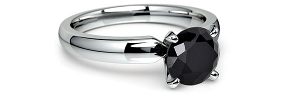 Round Black White Gold Preset Engagement Rings