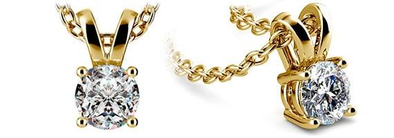 Round Yellow Gold Diamond Solitaire Pendants