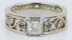 Vintage Rose Gold Floral Filigree Ring