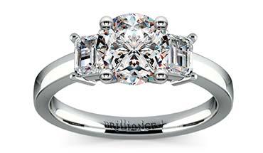 Classic Three Diamond Emerald Ring