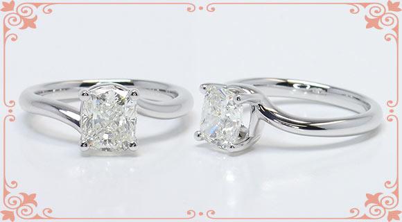 Classic Solitaire Cushion Cut Diamond Ring