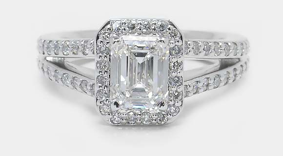 Halo Split Shank Emerald Diamond Engagement Ring