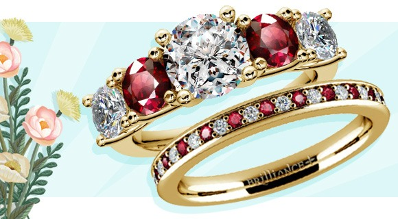 Wedding and Engagement Rings with Similar Design Elements