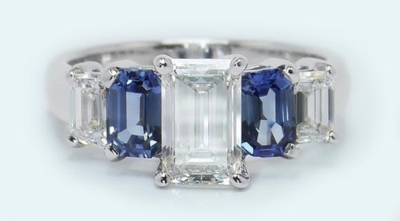 Custom Diamond & Sapphire Engagement Ring in White Gold