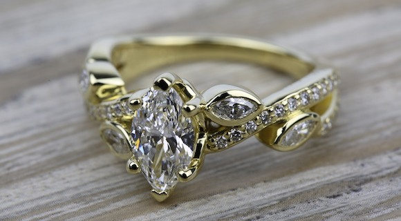 Marquise Diamonds in Yellow Gold