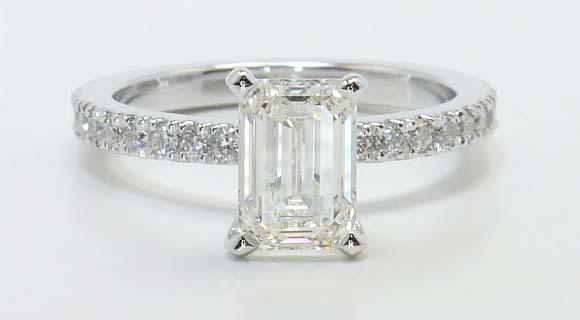 Petite Pave Emerald Diamond Engagement Ring