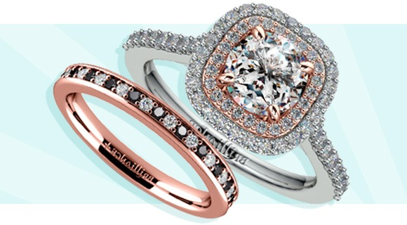 Wedding and Engagement Rings with Opposite Details