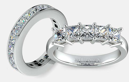 styles for princess cut wedding bands brilliancecom - Princess Cut Wedding Ring