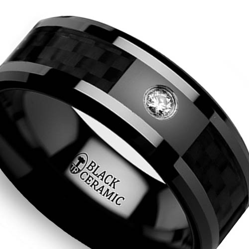 Black Carbon Fiber Inlay Promise Ring in Ceramic