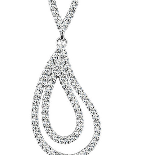 Double Teardrop Diamond Pendant in White Gold