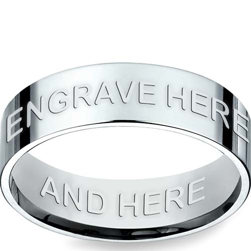 Engraved Flat Promise Ring in White Gold