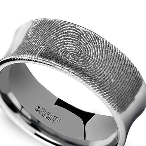 Fingerprint Engraved Promise Ring