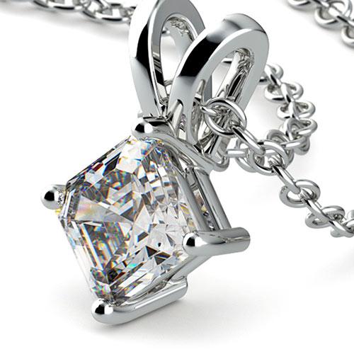 Asscher Diamond Solitaire Pendant in White Gold (1 ctw)
