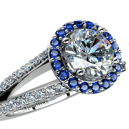 Halo Split Shank Diamond & Sapphire Engagement Ring