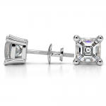 Asscher Diamond Stud Earrings in Platinum (4 ctw) | Thumbnail 03