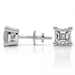 Asscher Diamond Stud Earrings in White Gold (2 ctw) | Thumbnail 03