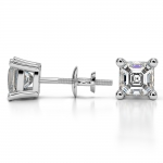 Asscher Diamond Stud Earrings in White Gold (2 ctw) | Thumbnail 03