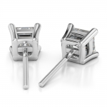 Asscher Diamond Stud Earrings in White Gold (3 ctw) | Thumbnail 02