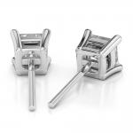 Asscher Diamond Stud Earrings in White Gold (3 ctw) | Thumbnail 02