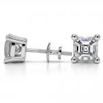 Asscher Diamond Stud Earrings in White Gold (4 ctw) | Thumbnail 03