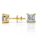 Asscher Diamond Stud Earrings in Yellow Gold (1 1/2 ctw) | Thumbnail 03