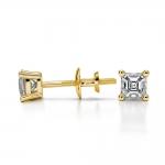 Asscher Diamond Stud Earrings in Yellow Gold (1/4 ctw) | Thumbnail 03