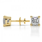 Asscher Diamond Stud Earrings in Yellow Gold (1 ctw) | Thumbnail 03
