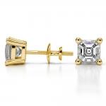 Asscher Diamond Stud Earrings in Yellow Gold (2 ctw) | Thumbnail 03