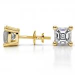 Asscher Diamond Stud Earrings in Yellow Gold (3 ctw) | Thumbnail 03