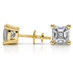Asscher Diamond Stud Earrings in Yellow Gold (4 ctw) | Thumbnail 03