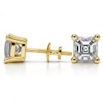 Asscher Diamond Stud Earrings in Yellow Gold (4 ctw) | Thumbnail 03
