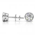 Bezel Diamond Stud Earrings in Platinum (1 1/2 ctw) | Thumbnail 03