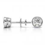 Bezel Diamond Stud Earrings in Platinum (1 ctw) | Thumbnail 03