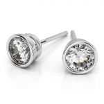 Bezel Diamond Stud Earrings in 14K White Gold (1 ctw) | Thumbnail 01