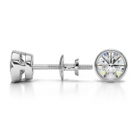 Bezel Diamond Stud Earrings in 14K White Gold (1 ctw) | Thumbnail 03