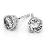 Bezel Diamond Stud Earrings in 14K White Gold (3 ctw) | Thumbnail 01