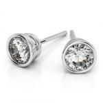 Bezel Diamond Stud Earrings in 14K White Gold (3 ctw) | Thumbnail 01