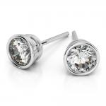 Bezel Diamond Stud Earrings in 14K White Gold (4 ctw) | Thumbnail 01