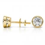 Bezel Diamond Stud Earrings in 14K Yellow Gold (1 1/2 ctw) | Thumbnail 03