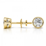 Bezel Diamond Stud Earrings in 14K Yellow Gold (1 ctw) | Thumbnail 03