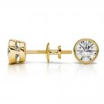 Bezel Diamond Stud Earrings in Yellow Gold (1 ctw) | Thumbnail 03