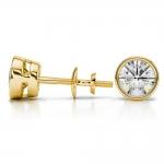 Bezel Diamond Stud Earrings in 14K Yellow Gold (2 ctw) | Thumbnail 03