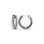 Diamond U-Prong Hoop Earrings in White Gold (3/4 ctw)