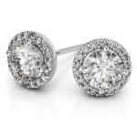 Halo Diamond Earrings in Platinum (1/2 ctw) | Thumbnail 01