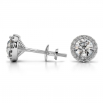 Halo Diamond Earrings in Platinum (1/2 ctw) | Thumbnail 03