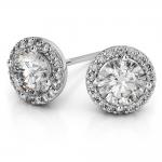 Halo Diamond Earrings in Platinum (1 ctw) | Thumbnail 01